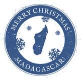 Madagascar map. Vintage Merry Christmas. Royalty Free Stock Photos