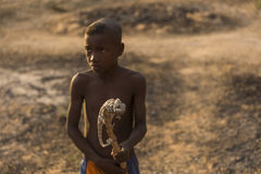 MADAGASCAR, MORONDAVA - OCTOBER 3, 2016: Unknown children playin Royalty Free Stock Photography
