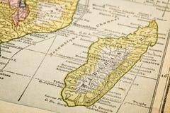 Madagascar na rocznik mapie Zdjęcia Stock
