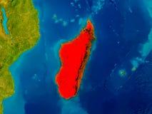 Madagascar on physical map Royalty Free Stock Image