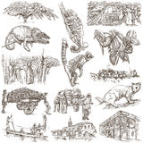 Madagascar - Pictures of life. Travel. Full sized hand drawings, Royalty Free Stock Image