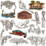 Madagascar - Pictures of life. Travel. Full sized hand drawings, Royalty Free Stock Photos