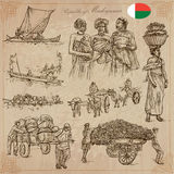 Madagascar - Pictures of life. Travel vector set. Stock Photo