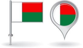 Madagascar pin icon and map pointer flag. Vector Stock Images