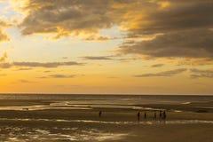Madagascar strandsolnedgång på en gul vanlig strand Royaltyfri Foto