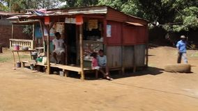 Madagascar street view in movement on a small town on a typical African town stock footage