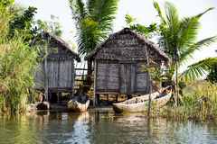 Madagascar traditional rural landscape with hut Stock Image