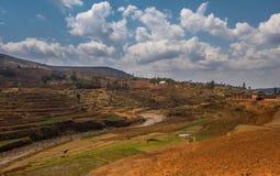 Madagaskar-Hochlandlandschaft Stockfotos