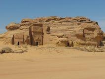 Madain Saleh, археологические раскопки с усыпальницами Nabatean в Саудовской Аравии KSA стоковые изображения rf