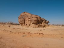 Madain Saleh, archäologische Fundstätte mit Nabatean-Gräbern in Saudi-Arabien KSA lizenzfreies stockfoto