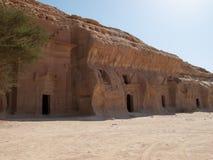 Madain Saleh, arch?ologische Fundst?tte mit Nabatean-Gr?bern in Saudi-Arabien KSA lizenzfreie stockfotos