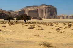 Madain Saleh, archeologische plaats met Nabatean-graven in Saudi-Arabië KSA stock foto