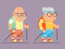 Madame active Character Cartoon Flat de vieil homme de bâton de marche de la Finlande de nordic d'âge de mode de vie de mamie pre illustration libre de droits