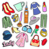 Madame anglaise Woman Fashion Badges, corrections, autocollants avec des vêtements et bijoux Photos libres de droits