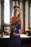 Madame avec des roses Image libre de droits