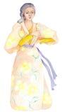 Madame avec la robe fleurie par Renaissance image libre de droits