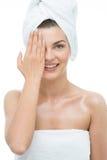 Madame avec la serviette de turban Photographie stock