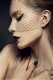 Madame avec le beau maquillage dans un voile Photo stock