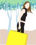 Madame avec le sac à provisions illustration libre de droits