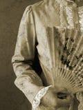 Madame avec le ventilateur de papier Images libres de droits