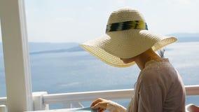 Madame choisissant le plat du menu à la table, déjeuner au restaurant de bord de la mer, vacances banque de vidéos