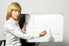 Madame d'affaires indiquant Whiteboard image stock