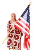 Madame d'Afro-américain retenant l'indicateur américain Photos stock