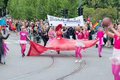 Madame 2014 d'Europride en rouge sur le défilé à Oslo Photos stock
