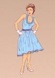 Madame dans la robe bleue dans le rétro style illustration libre de droits