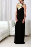 Madame dans la robe noire Photographie stock libre de droits