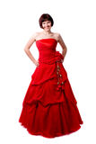 Madame dans la robe rouge Photographie stock