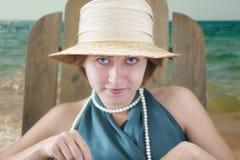 Madame dans le chapeau Image stock