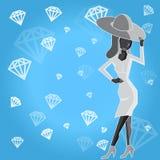 Madame dans le chapeau avec des diamants Images stock