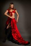 Madame dans le flamenco gitan de danse de costume sur un fond gris Photos stock