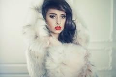 Madame dans le manteau de fourrure luxueux photo libre de droits