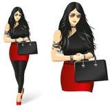 Madame dans le noir Fille à la mode illustration libre de droits