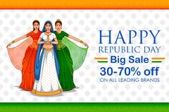 Madame dans le saree tricolore du drapeau indien pour le jour heureux de République du 26 janvier de l'Inde illustration libre de droits