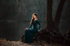 Madame dans les dres verts luxuriants d'un luxe Photo libre de droits