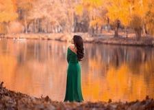 Madame dans les dres verts luxuriants d'un luxe Image libre de droits