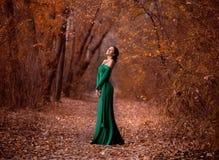 Madame dans les dres verts luxuriants d'un luxe Photo stock