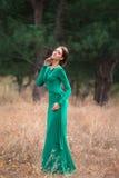 Madame dans les dres verts luxuriants d'un luxe Photographie stock