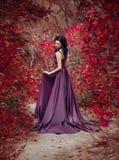 Madame dans une robe pourpre luxuriante de luxe Image libre de droits