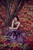 Madame dans une robe pourpre luxuriante de luxe Photos libres de droits