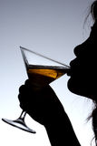 Madame Drinking Wine Photos stock