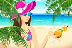 Madame en plage Photo stock