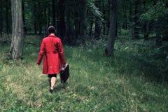 Madame en rouge Images libres de droits