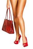 Madame en rouge. Photo libre de droits