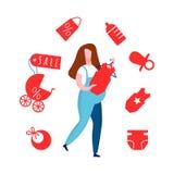 Madame enceinte dans l'illustration plate globale de vecteur illustration libre de droits