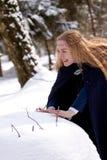 Madame et boule de neige Images libres de droits