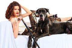 Madame et chien Photographie stock libre de droits